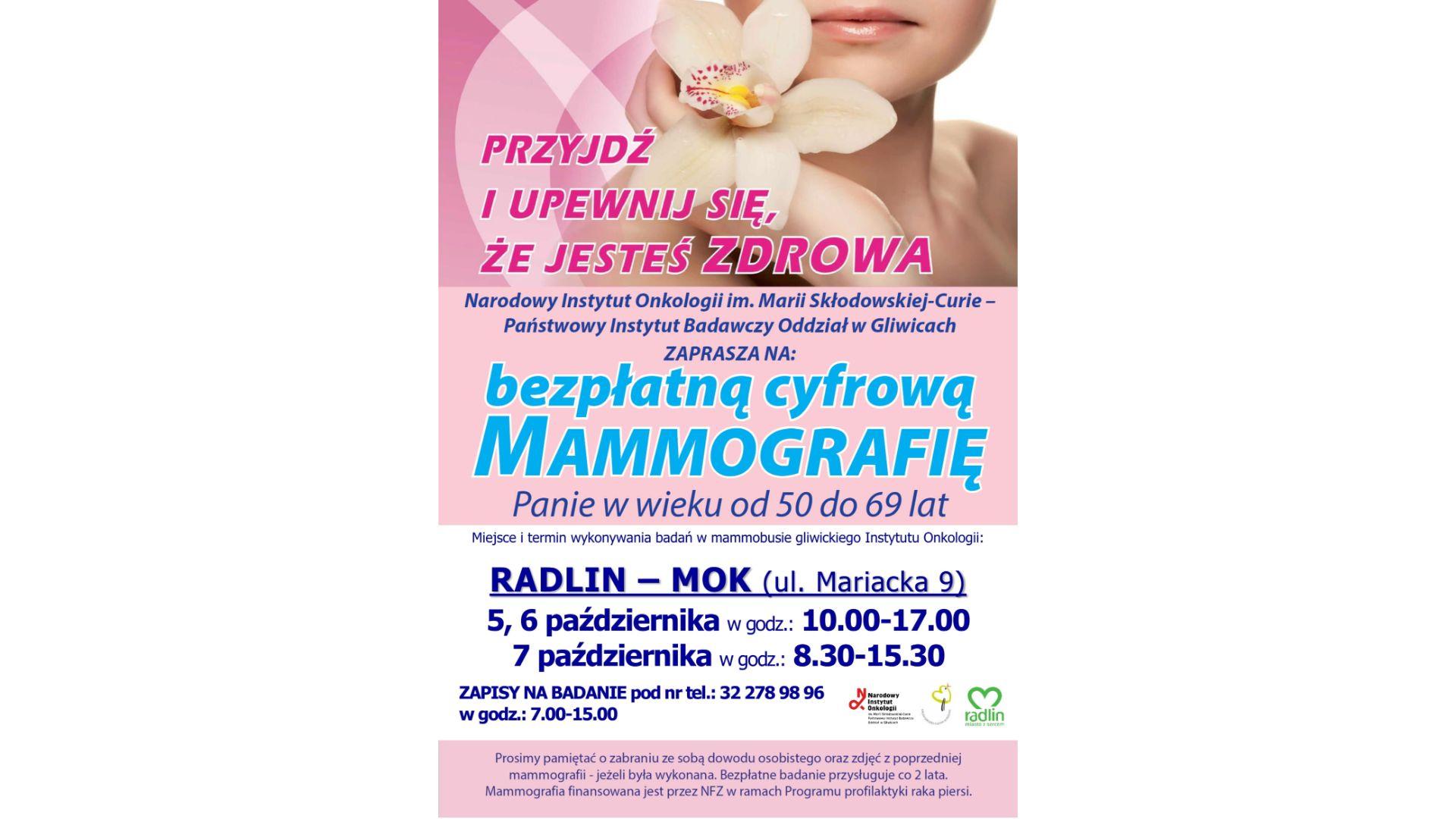 Bezpłatna mammografia w Radlinie